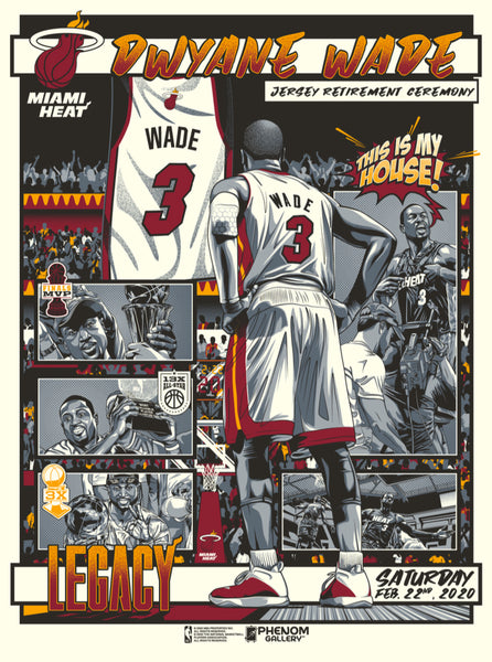 Miami Heat Dwyane Wade L3gacy - Retired Number Serigraph (Printer Proof)