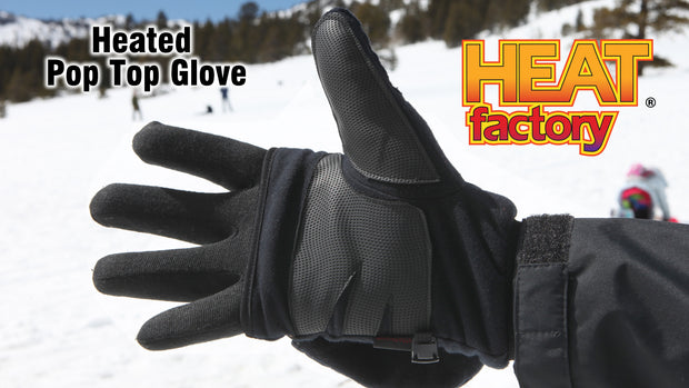 Heat Factory Heated Pop-Top Winter Glove with mitten top with free Hand Warmer