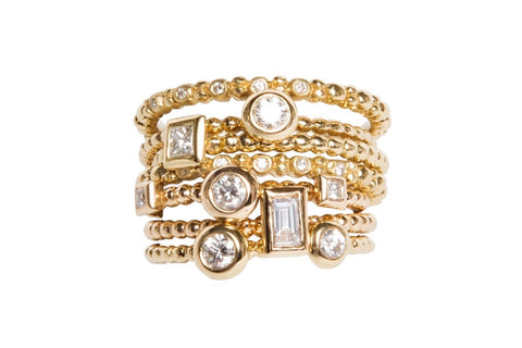 Styling - Stacked Gold and Diamond Rings