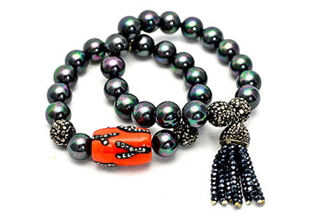 Styling - Black Bead Stretch Bracelet