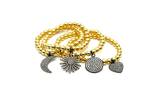 Styling - Gold Bead Stretch Bracelets