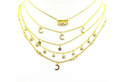 Styling - Gold Moon and Star Necklaces