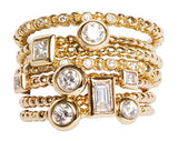 Stackable Gold and Diamond Rings Collection