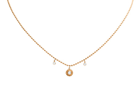 NINE PAVE STARBURST GOLD PLATED NECKLACE
