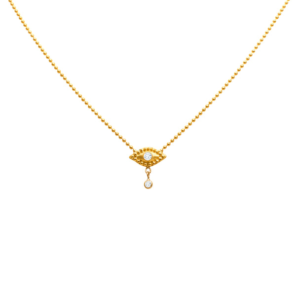 EVIL EYE NECKLACE WITH DANGLING DIAMOND IN 18K YELLOW GOLD