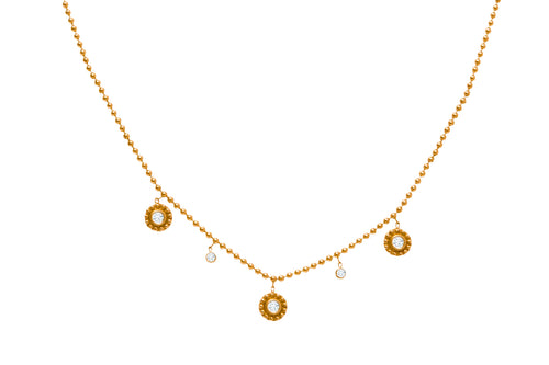 14K YELLOW GOLD AND DIAMOND THREE SMALL BEADED DANGLING DISC NECKLACE