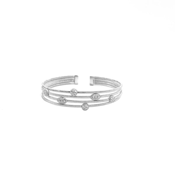 FOUR ROW SILVER CUFF WITH ALTERNATING CUBIC ZIRCONIA