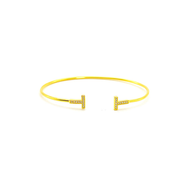 THIN CUFF BRACELET WITH T SHAPED ENDS, YELLOW GOLD PLATED