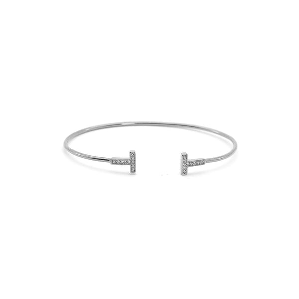 THIN CUFF BRACELET WITH T SHAPED ENDS, WHITE STERLING SILVER