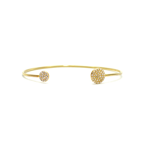 GOLD PLATED STERLING SILVER CUFF BRACELET WITH CUBIC ZIRCONIA DISC ENDS