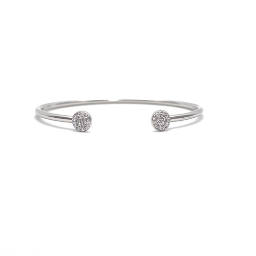 STERLING SILVER CUFF BRACELET WITH CUBIC ZIRCONIA DISC ENDS