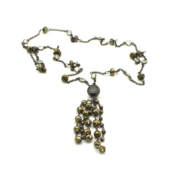 PYRITE AND OXIDIZED STERLING SILVER TASSEL NECKLACE