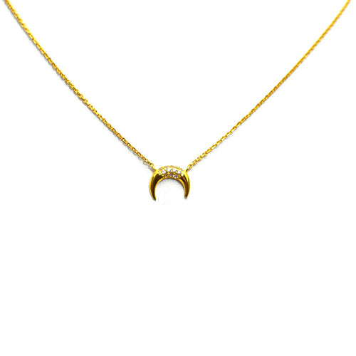 HORN GOLD PLATED NECKLACE WITH CZ'S