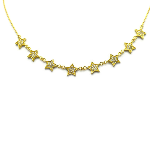GOLD PLATED NECKLACE WITH EIGHT PAVE STARS AND CZ'S