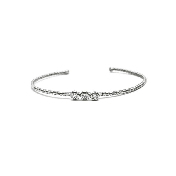 BEADED GOLD CUFF BRACELET WITH 3 DIAMONDS SET IN BEZELS, 14K WHITE GOLD