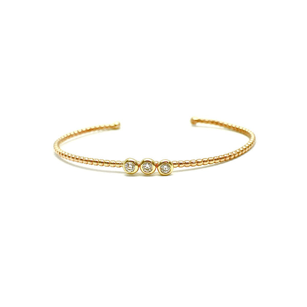 BEADED GOLD CUFF BRACELET WITH 3 DIAMONDS SET IN BEZELS, 14K YELLOW GOLD