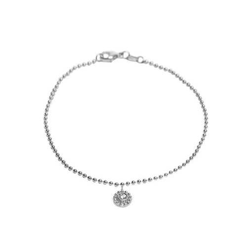 WHITE GOLD DANGLING BEADED DISC WITH BEZEL SET DIAMOND BRACELET