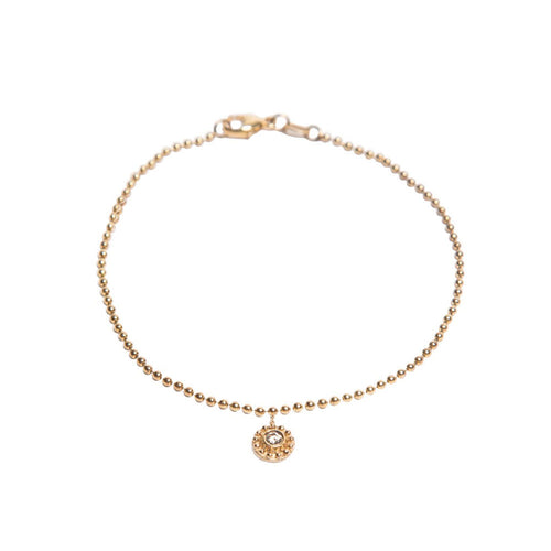 YELLOW GOLD DANGLING BEADED DISC WITH BEZEL SET DIAMOND BRACELET