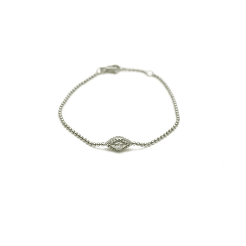 DOUBLE SIDED EVIL EYE BRACELET WITH BEZEL SET DIAMONDS, WHITE GOLD