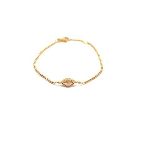 GOLD BEAD STRETCH BRACELET WITH DANGLING PAVED CZ DISC
