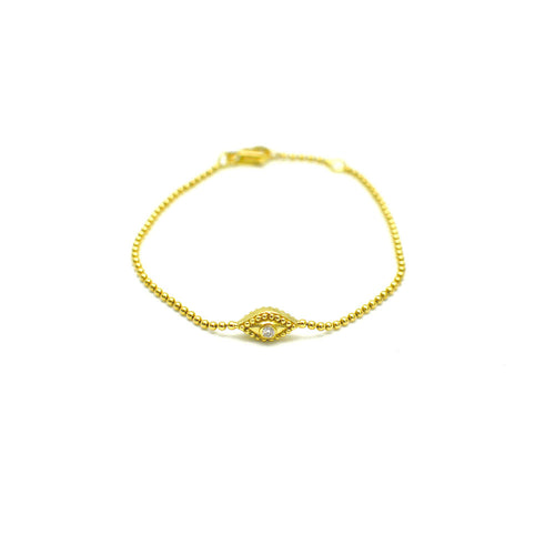 DOUBLE SIDED EVIL EYE BRACELET WITH BEZEL SET DIAMONDS, 18K YELLOW GOLD