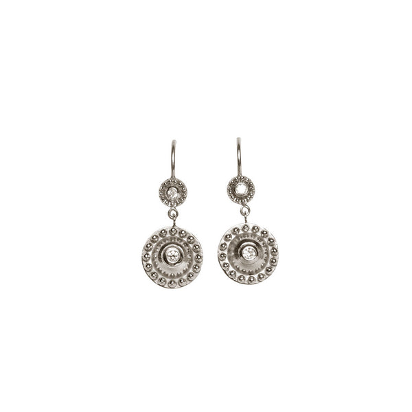 DANGLING 14K WHITE GOLD BEADED DISC EARRINGS, BEZEL SET ON A WIRE