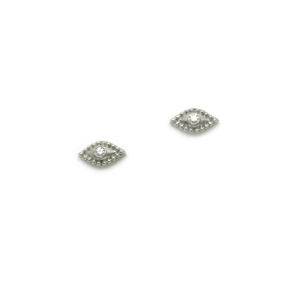EVIL EYE STUD EARRINGS WITH BEZEL SET DIAMONDS, 18K WHITE GOLD