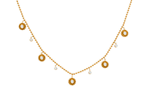 14K YELLOW GOLD AND DIAMOND DANGLING FIVE MEDIUM BEADED DANGLING DISC NECKLACE