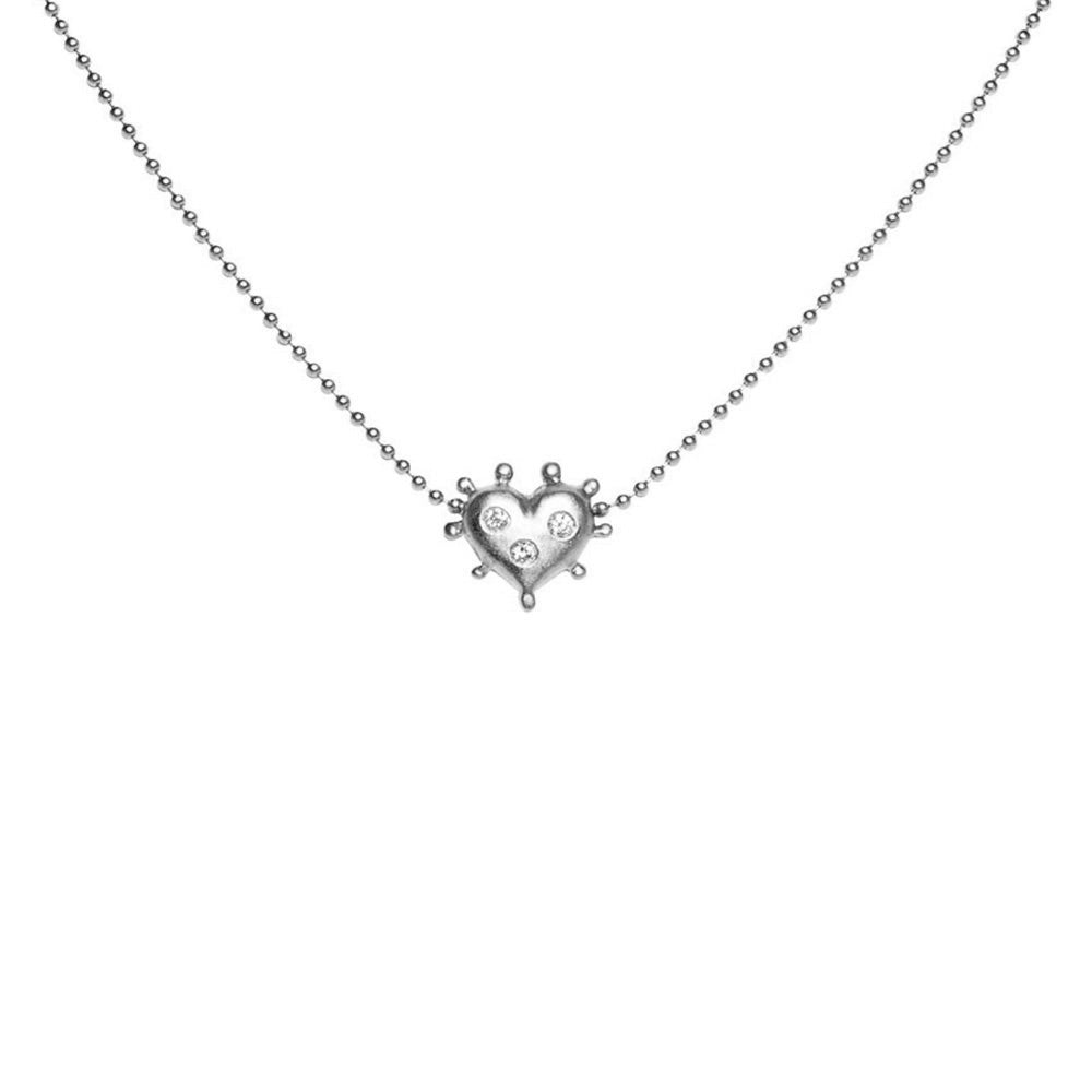 WHITE GOLD HEART NECKLACE WITH BURNISHED DIAMONDS Diane Moss Jewelry