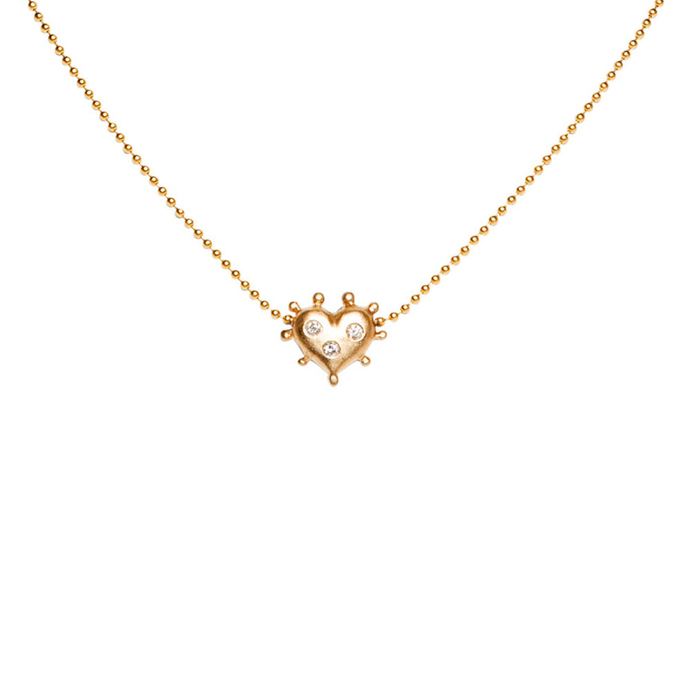 Yellow gold heart necklace with burnished diamonds diane moss jewelry yellow gold heart necklace with burnished diamonds aloadofball Gallery