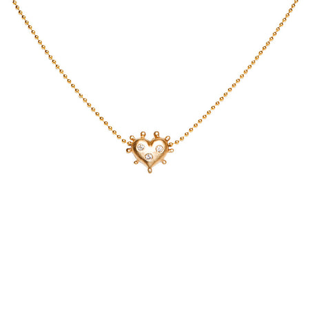 ONE OF A KIND 14K GOLD AND DIAMOND BEADED HEART NECKLACE