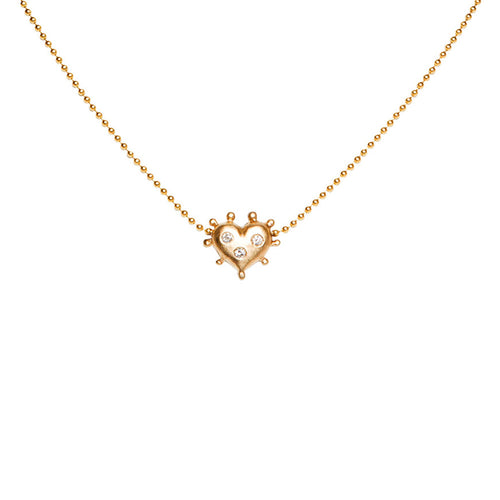 YELLOW GOLD HEART NECKLACE WITH BURNISHED DIAMONDS