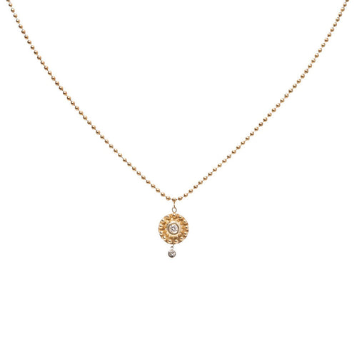 YELLOW GOLD MEDIUM BEADED DISK NECKLACE WITH BEZEL SET DIAMONDS