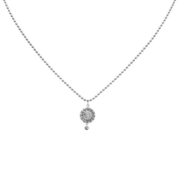 WHITE GOLD MEDIUM BEADED DISK NECKLACE WITH BEZEL SET DIAMONDS
