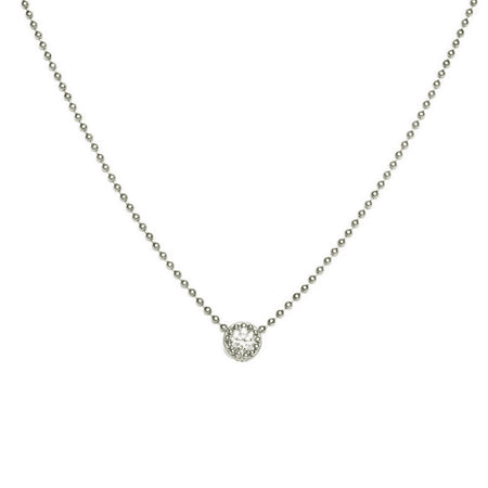 14K WHITE GOLD SMALL BEADED DISC AND BEZEL SET DIAMOND NECKLACE