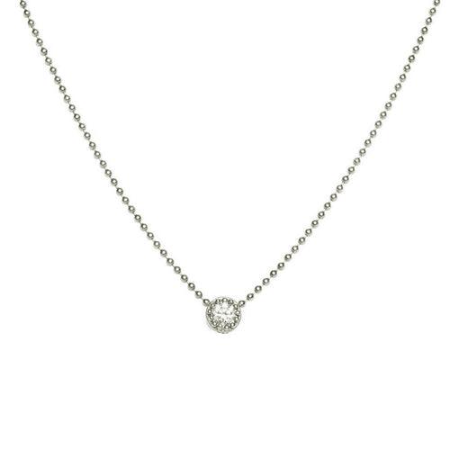 BRILLIANT CUT DIAMOND SET IN CUSTOM BEADED BEZEL, WHITE GOLD