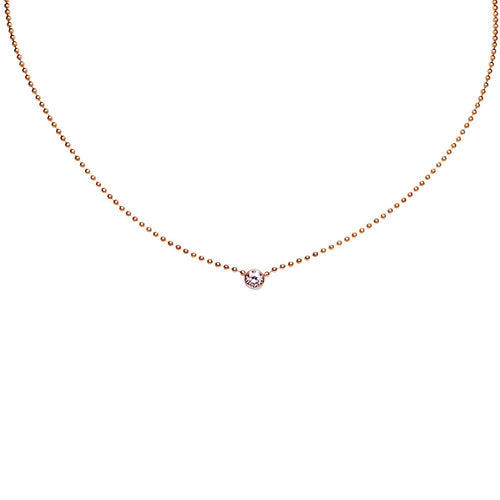 BRILLIANT CUT DIAMOND SET IN AN INVISIBLE BEZEL, ROSE GOLD