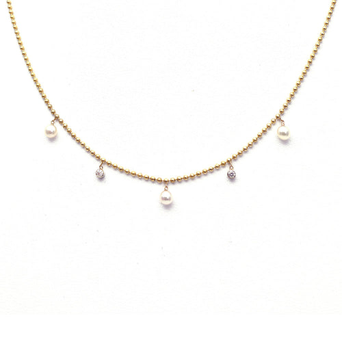 DANGLING PEARL AND BEZEL SET DIAMOND NECKLACE, 14K ROSE GOLD
