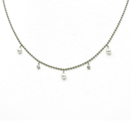 WHITE GOLD HEART NECKLACE WITH BURNISHED DIAMONDS