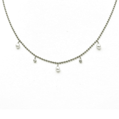 DANGLING PEARL AND BEZEL SET DIAMOND NECKLACE, 14K WHITE GOLD