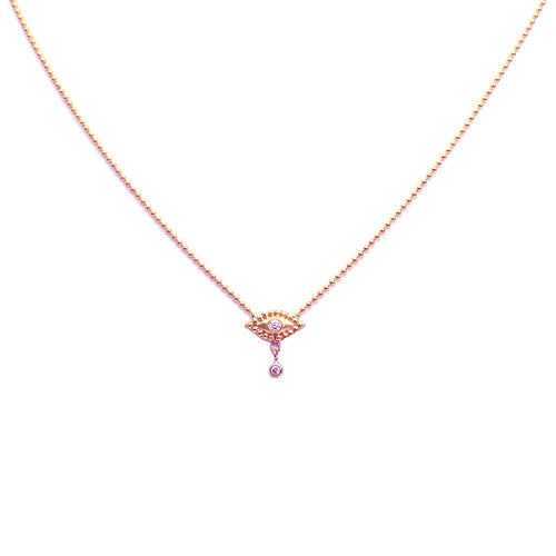 EVIL EYE NECKLACE WITH DANGLING DIAMOND, ROSE GOLD