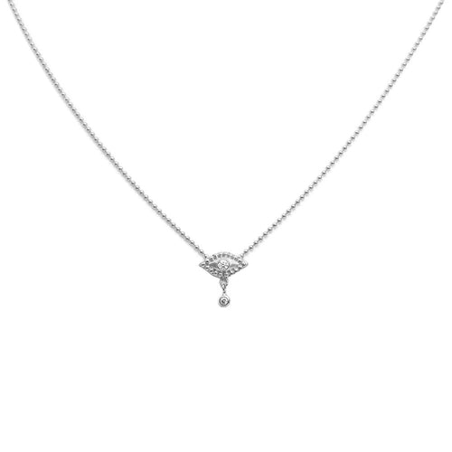 EVIL EYE NECKLACE WITH DANGLING DIAMOND, WHITE GOLD