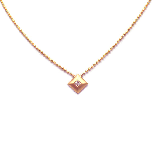 SQUARE PENDANT WITH BURNISHED DIAMOND, 14K ROSE GOLD