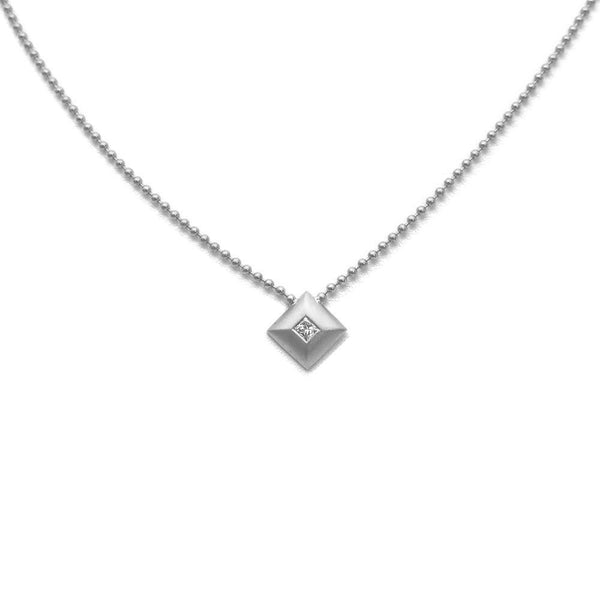 SQUARE PENDANT WITH BURNISHED DIAMOND, 14K WHITE GOLD