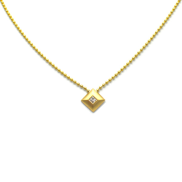 SQUARE PENDANT WITH BURNISHED DIAMOND, 14K YELLOW GOLD