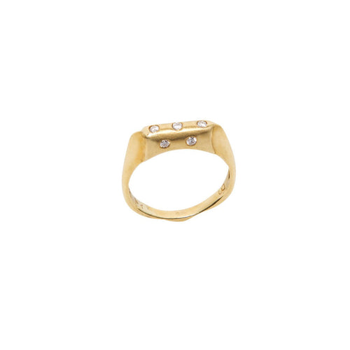 5 DIAMOND BURNISHED 18K YELLOW GOLD RING