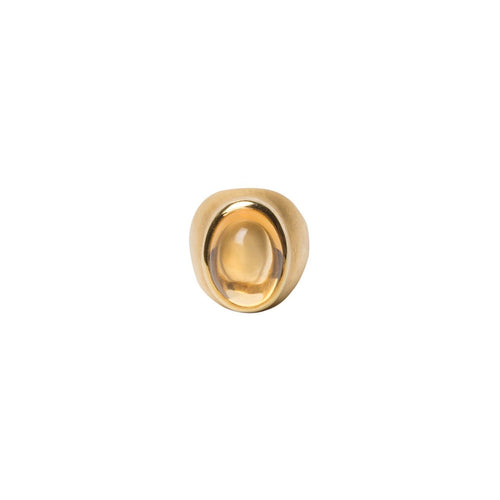 OVAL CABOCHON CITRINE RING, 18K GOLD