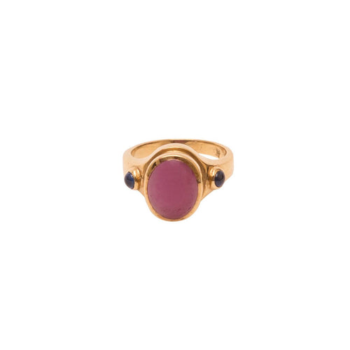 OVAL CABOCHON RUBY RING, 18K YELLOW GOLD