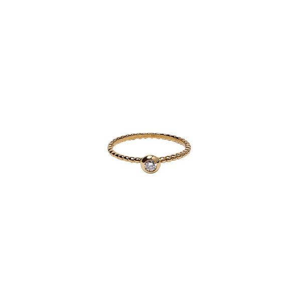 SINGLE BEZEL SET DIAMOND ON 18K YELLOW GOLD BEADED BAND