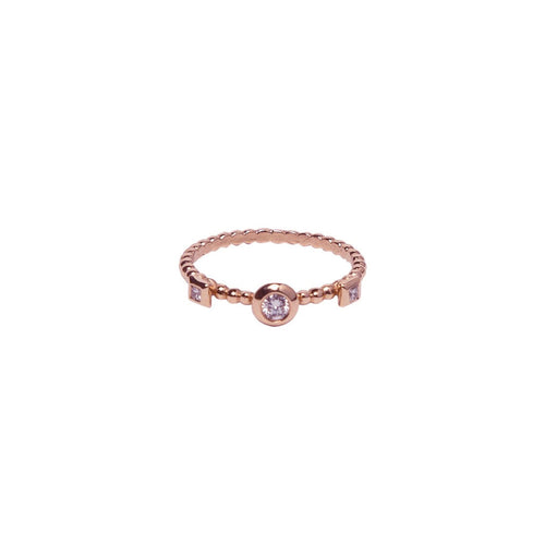 BEZEL SET BRILLIANT CUT AND PRINCESS CUT DIAMOND BEADED BAND, 18K ROSE GOLD